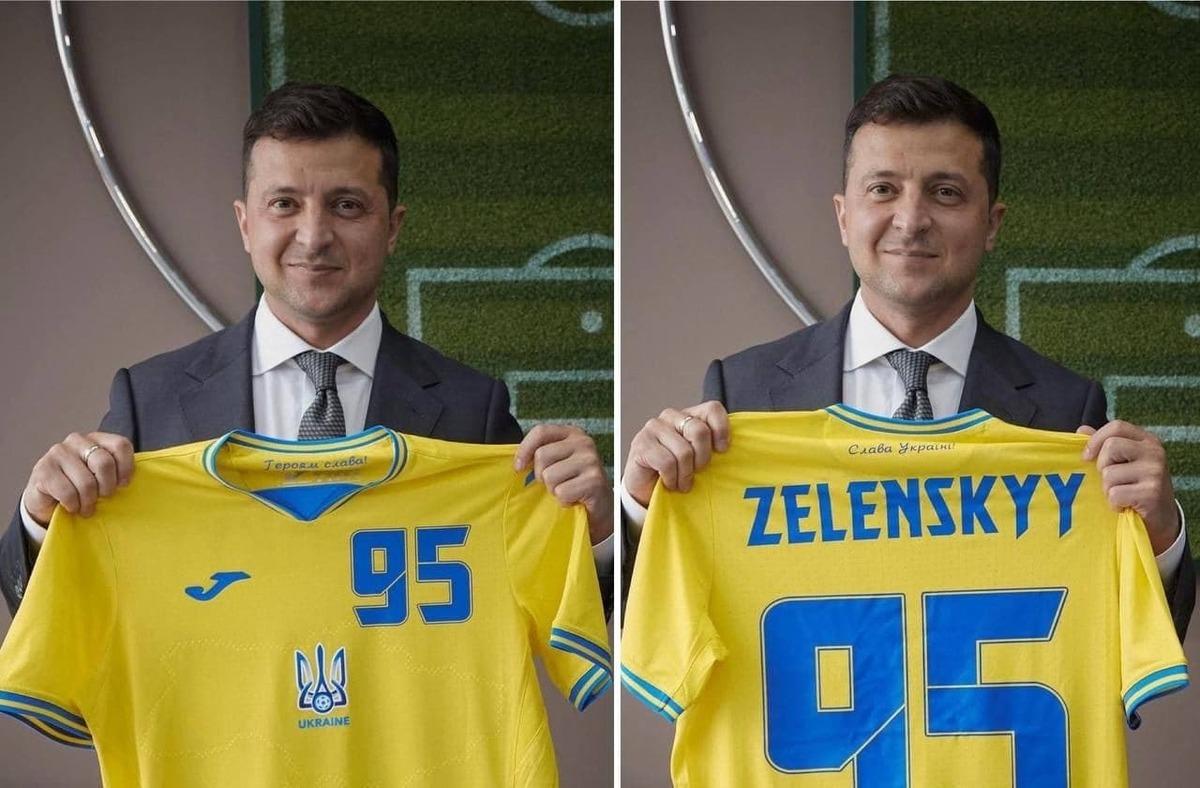 Зеленскому вручили именную футболку сборной Украины по футболу. Он сфотографировался для Instagram