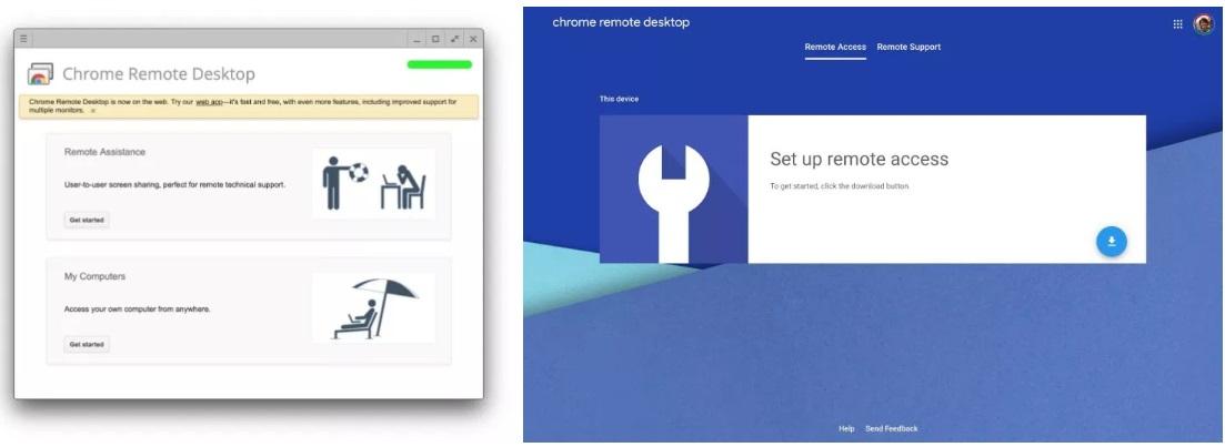 Старый и новый Chrome Remote Desktop