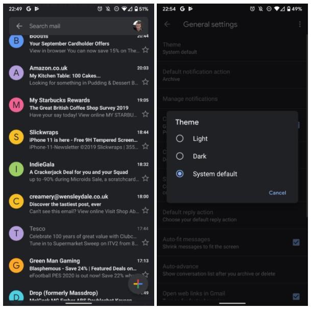 Dark Mode в Gmail